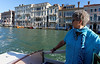 Venice; Suzanne and water taxi headed to airport