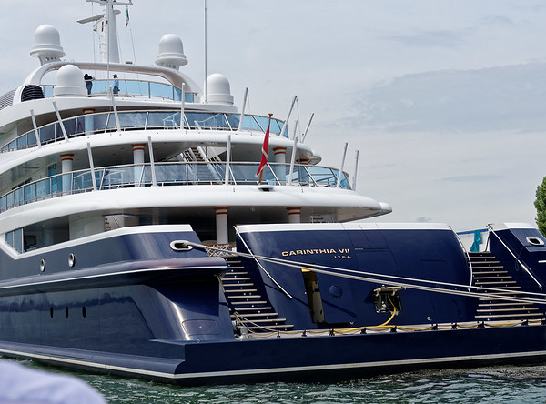 Venice; The yacht Carinthia VII was built in the Lürssen Yachts yard in 2002 and refurbished in the same yard 3 years later. One of the largest motor yachts in the world, it is owned by Heidi Horten, widow of the German entrepreneur Helmut Horten.