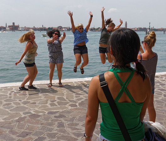 Venice; girls from the US on a trip to Italy and Murano Island