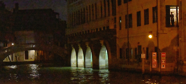 Venice; night cruise by water bus, only stoplight in Venice and firestation