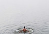 Girish finishes off his tour with a plunge, Ganges, Varanasi