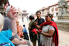 John entertains the hawkers, Durbar Square, Bhaktapur Nepal