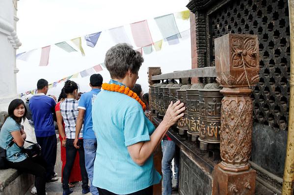 Suzanne gives 'em a spin, Swayambhunath Temple (250 BC) and Buddhist complex, Kathmandu