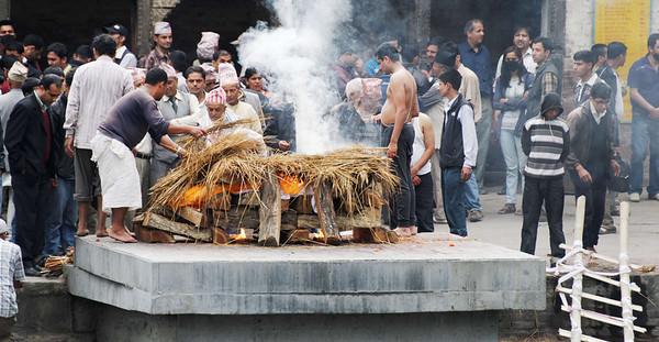 Cremation, eldest son or closest male relative, Kathmandu Nepal