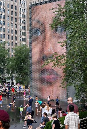 Chicago tour, Crown Fountain at Millennium Park