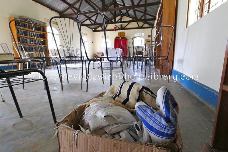 UG 96  Box of tallitot, Moses Synagogue  Nabugoye Village, Mbale, Uganda  September 2013