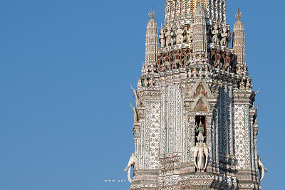 Narayana on Garuda and Indra God on Erawan Elephant, the Main Prang of Wat Arun Ratchawararam