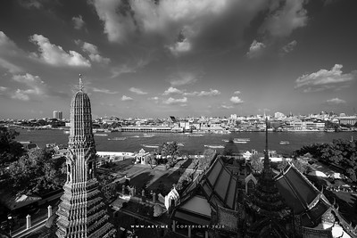 Skyline of  Bangkok view from Phra Prang, Wat Arun Ratchawararam (Temple of Dawn)