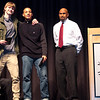 Malcolm Brent and Sean VanDuring were named varsity basketball MVPs (shown here with Coach Dickens).