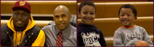 Alex Bazzie and Coach Dickens (left).  Future Gladiator ball players flash their best smiles for the camera.