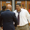 Dr. Johnson greets Northwood's first football coach who now coaches basketball for Seneca Valley.
