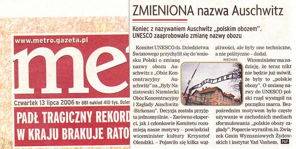 Změna názvu tábora. Není to polský koncentrační tábor, ale německý koncentrák na území Polska.