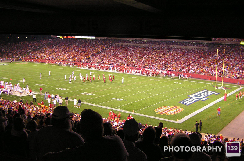Jack Trice from the Concourse at night