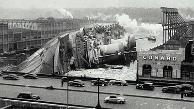 French Liner SS Normandie in Her Death Throes