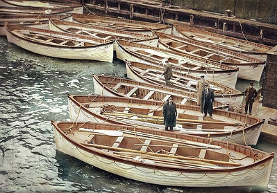Titanic Lifeboats at Pier 59, 1912 (colorized)