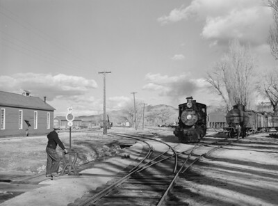 Operating switch at railroad station. Carson City, Nevada (March, 1940)