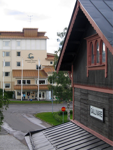 """A view of """"Grand Hotel Lapland,"""" opposite the train station."""