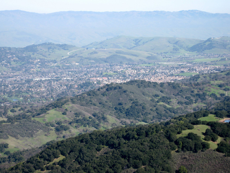 "A view across southern Santa Clara Valley (""Silicon Valley""), from Kennedy Trail. The lower peaks seen here were accomplished on earlier hikes. See next image for their names and locations."