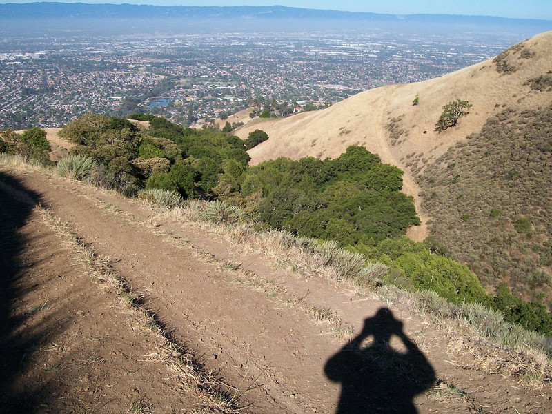 A view of lower Silicon Valley after traversing the steepest part of the trail (whew!).
