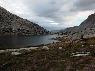 Looking N towards the outlet of Evolution Lake.  The far ridge in the center may be the SW ridge of Mathess Peak.