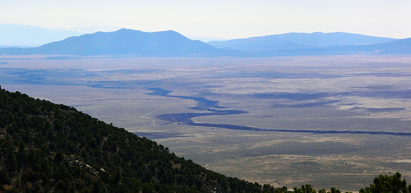 The Rio Grande Gorge - our route - from 9,000 feet up Ute Mountain.