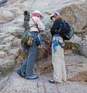 Bill and Sylvia discuss anchor construction.  Bill's carry a 2nd rope to speed up our rappels as ROE takes double rope rappels.