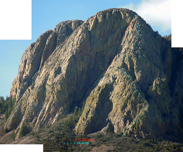 SE Face Vic's Peak w/ two likely routes. Visited base of both routes 20130615. Rock reasonable - SE Arete may be steeper that it looks here as is the upper 1/4 of the SE Dihedral. See other photos for closer views. Click photo for hi resolution.