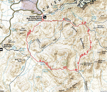 Our route.  We started at the Homer Wilson Trailhead and went counter clockwise around the loop.  Our first camp was Smoky Spring, second Dominguez Spring (at the lower right of the loop) and third at the junction of the Dodson Trail and Fresno Creek (the upper right of the loop).