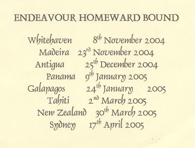Voyage Itinerary