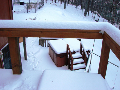 Looking down at our icy hot tub