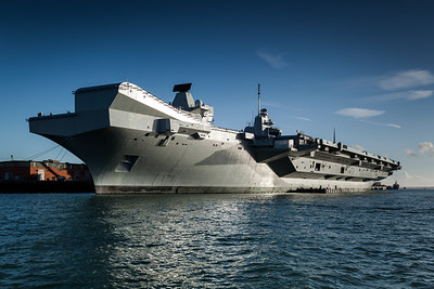 HMS Queen Elizabeth moored.