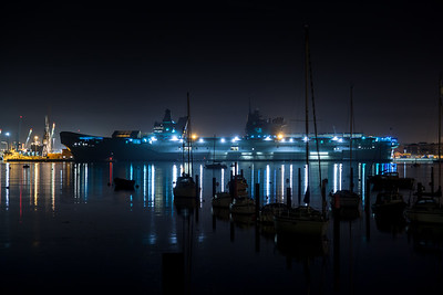 HMS Queen Elizabeth at night.