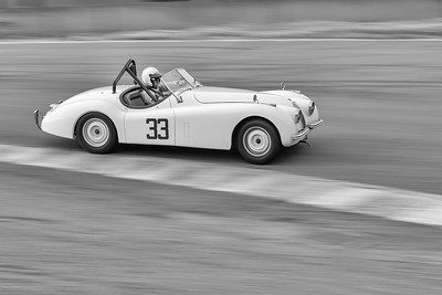 Jaguar XK120 heads out of the Corkscrew