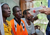 Haitian patients are examined by American volunteers at Hopital Sacré Coeur in Milot, Haiti.<br /> Photos from Hopital Sacré Coeur, the CRUDEM foundation, and Holy Name Medical Center's involvement in Milot, Haiti.  Photo by Jeff Rhode / Holy Name Medical Center 6/12/12