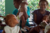 Children and parents at the nutrition center at Hopital Sacré Coeur in Milot, Haiti. Mothers bring their children in several days each week to get some nutritious food and milk for their your children. <br /> Photos from Hopital Sacré Coeur, the CRUDEM foundation, and Holy Name Medical Center's involvement in Milot, Haiti.  Photo by Jeff Rhode / Holy Name Medical Center 6/13/12