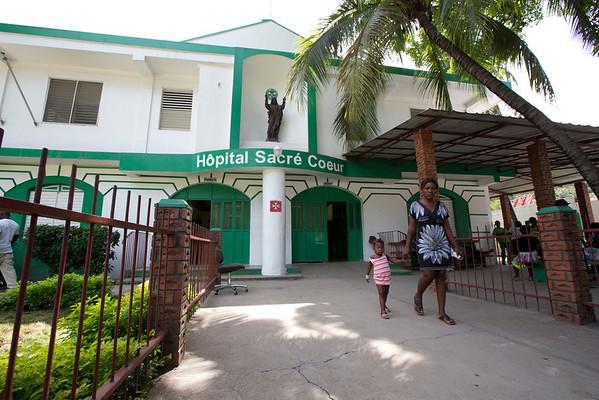The entrance area at Hoptial Sacre Coeur in Milot, Haiti. Photos from Hopital Sacré Coeur, the CRUDEM foundation, and Holy Name Medical Center's involvement in Milot, Haiti.  Photo by Jeff Rhode / Holy Name Medical Center 10/23/13