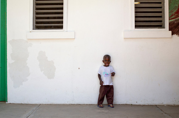 A boy in the courtyard at Hopital Sacre Coeur in Milot, Haiti. <br /> Photos from Hopital Sacré Coeur, the CRUDEM foundation, and Holy Name Medical Center's involvement in Milot, Haiti.  Photo by Jeff Rhode / Holy Name Medical Center 6/12/12