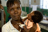 A mother with her child in the pediatrics department at Hopital Sacré Coeur in Milot, Haiti. <br /> Photos from Hopital Sacré Coeur, the CRUDEM foundation, and Holy Name Medical Center's involvement in Milot, Haiti.  Photo by Jeff Rhode / Holy Name Medical Center 6/12/12