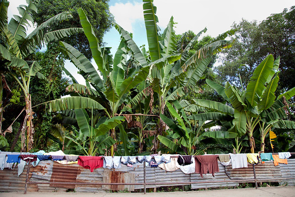 Laundry dries on a bridge over the river they were washed in, in Milot, Haiti. <br /> Photos from Hopital Sacré Coeur, the CRUDEM foundation, and Holy Name Medical Center's involvement in Milot, Haiti.  Photo by Jeff Rhode / Holy Name Medical Center 10/21/13