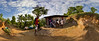 Panoramic stitched photo of a home in the mountains in Milot, Haiti.<br /> Photos from Hopital Sacré Coeur, the CRUDEM foundation, and Holy Name Medical Center's involvement in Milot, Haiti.  Photo by Jeff Rhode / Holy Name Medical Center 12/3/13