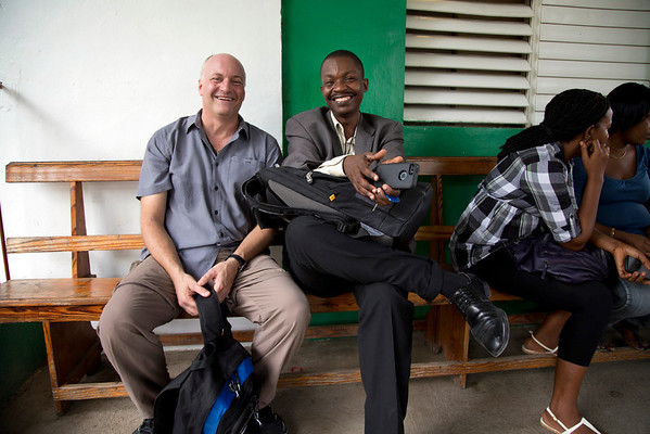 Mike Maron, CEO of Holy Name Medical Center, with Dr. Harold Previl, CEO of Hopital Sacre Coeur at the hospital in Milot, Haiti. <br /> Photos from Hopital Sacré Coeur, the CRUDEM foundation, and Holy Name Medical Center's involvement in Milot, Haiti.  Photo by Jeff Rhode / Holy Name Medical Center 10/22/13