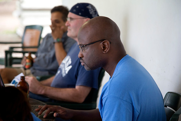 Richard Thomas, of Holy Name Medical Center, working on CAD drawings at the Crudem campus in Milot, Haiti. <br /> Photos from Hopital Sacré Coeur, the CRUDEM foundation, and Holy Name Medical Center's involvement in Milot, Haiti.  Photo by Jeff Rhode / Holy Name Medical Center 10/31/12