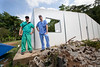 Frank Marano and Kieran Hardy working at Hopital Sacre Coeur in Milot, Haiti. <br /> <br /> Photos from Hopital SacrŽ Coeur, the CRUDEM foundation, and Holy Name Medical Center's involvement in Milot, Haiti.  Photo by Jeff Rhode / Holy Name Medical Center 10/22/13