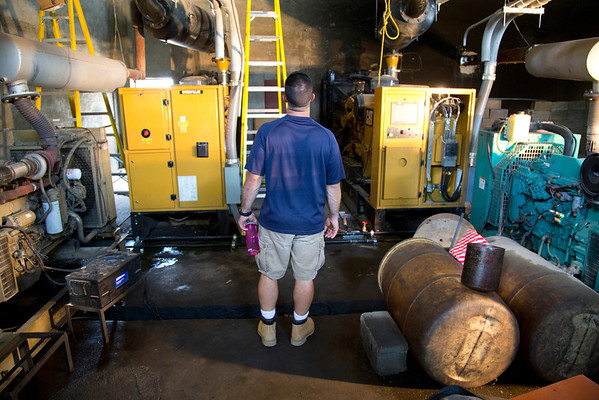 Jimmy Candela in the generator room in Milot, Haiti. A team of Holy Name Medical Center employees traveled to  Milot, Haiti to run new electric and communications cable, and get a pair of generators installed and operational. The team employed and taught a crew of local Haitian workers on the projects.<br /> Photos from Hopital Sacré Coeur, the CRUDEM foundation, and Holy Name Medical Center's involvement in Milot, Haiti.  Photo by Jeff Rhode / Holy Name Medical Center 9/4/12