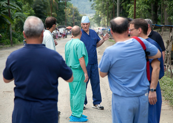 Dr. Dave Butler talks with Dr. Adam Jarrett of Holy Name Medical center on the street in Milot, Haiti.<br />  Photos from Hopital Sacré Coeur, the CRUDEM foundation, and Holy Name Medical Center's involvement in Milot, Haiti.  Photo by Jeff Rhode / Holy Name Medical Center 10/29/12