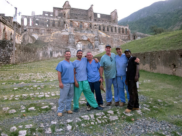 (LtoR) Jimmy Candela, Marty Wagner, Cyril Coffey, Mark KeaneSteve Mosser, and Peopop visiting the Sans Souci Palace, a landmark in Milot, Haiti.  A team of Holy Name Medical Center employees traveled to  Milot, Haiti to run new electric and communications cable, and get a pair of generators installed and operational. The team employed and taught a crew of local Haitian workers on the projects.<br /> Photos from Hopital Sacré Coeur, the CRUDEM foundation, and Holy Name Medical Center's involvement in Milot, Haiti.  Photo by Jeff Rhode / Holy Name Medical Center 9/7/12