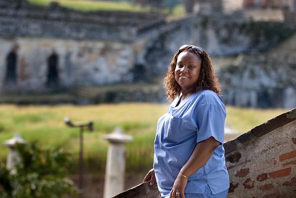 Judith Raymond in Milot, Haiti. <br /> Photos from Hopital Sacré Coeur, the CRUDEM foundation, and Holy Name Medical Center's involvement in Milot, Haiti.  Photo by Jeff Rhode / Holy Name Medical Center 10/24/13