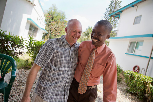 Mike Maron, CEO of Holy Name Medical Center, greets Dr. Harold Previl, CEO of Hopital Sacre Coeur, on the grounds of the Crudem Foundation in Milot, Haiti. <br /> Photos from Hopital Sacré Coeur, the CRUDEM foundation, and Holy Name Medical Center's involvement in Milot, Haiti.  Photo by Jeff Rhode / Holy Name Medical Center 3/13/13