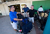 Jimmy Candela,Cyril Coffey, and Steve Mosser<br /> from Holy Name Medical Center at the airport on their way to Milot, Haiti.<br /> Photos from Hopital Sacré Coeur, the CRUDEM foundation, and Holy Name Medical Center's involvement in Milot, Haiti.  Photo by Jeff Rhode / Holy Name Medical Center 9/3/12