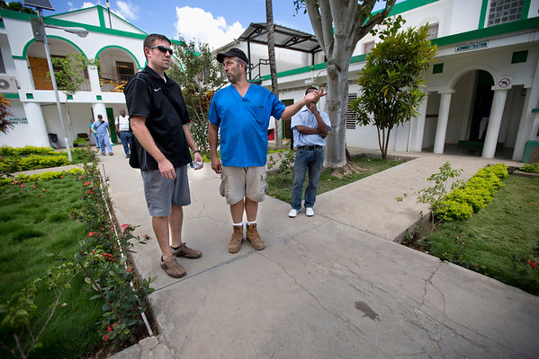 Ryan Kennedy and Steve Mosser in the courtyard at Hopital Sacre Coeur in Milot, Haiti. <br /> Photos from Hopital Sacré Coeur, the CRUDEM foundation, and Holy Name Medical Center's involvement in Milot, Haiti.  Photo by Jeff Rhode / Holy Name Medical Center 10/21/13